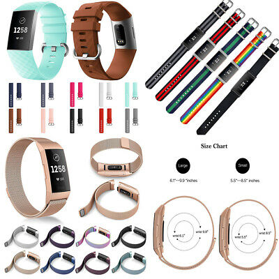 For FitBit Charge 3 Wristband Milanese Magnetic Loop Watch Strap/ Silicone Band