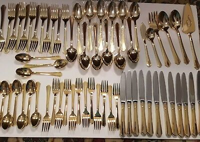 International Silver Rogers Bros DECO Gold EP  flatware 65 Pcs BEAUTIFUL!!!!!!!!