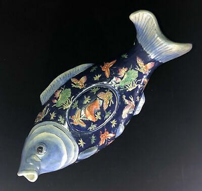 Vintage Chinese Polychrome Porcelain Fish