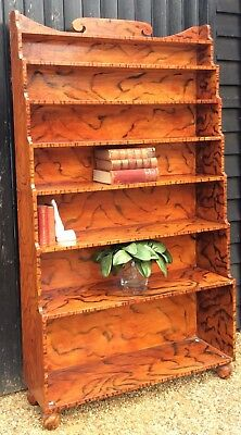 Fabulous Regency Style Waterfall Front Bookcase Painted Scumble Tiger Effect