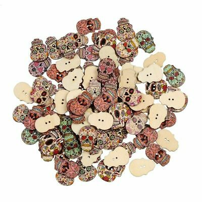 Fashion Natural Handmade Wooden Sewing Scrapbooking Wood Buttons Skull Skeleton