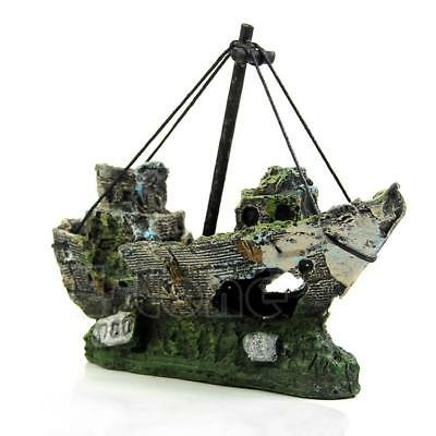 Aquarium Ornament Wreck Sailing Boat Sunk Ship Destroyer Fish Tank Cave Decors