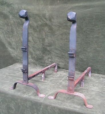 "Antique Colonial Arts & Crafts Hand Wrought Iron Andirons Fireplace 27""H"