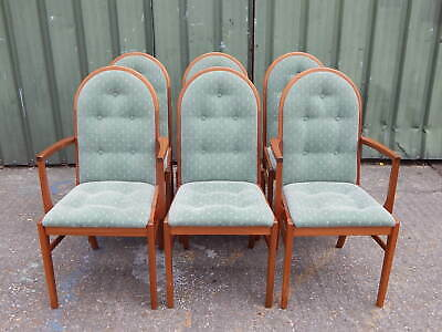 Set of 6x Luxury Brittains Droxford upholstered teak dining chairs inc 2 carvers