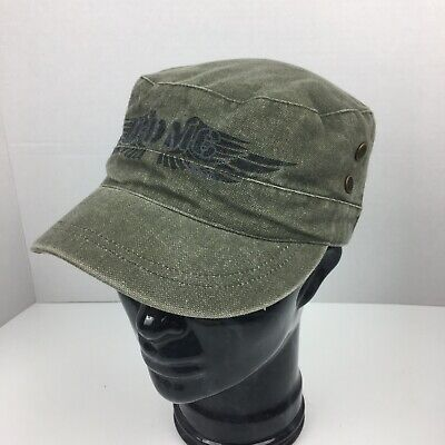 f136ffa88e597 Harley Davidson Motorcycle Medium Cadet Military Hat Cap Green Canvas  Distressed