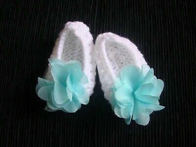 Baby clothes GIRL newborn 0-1m knitted bootees white, large aqua rose SEE SHOP!