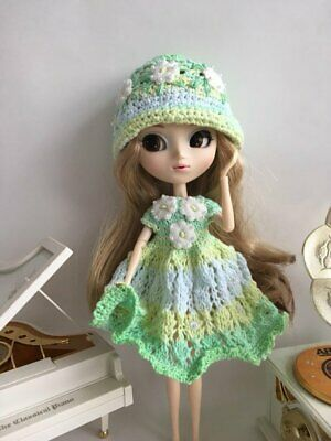Dress yellow -green white  knitted and hat embroidery Dal Neo Blythe Pullip