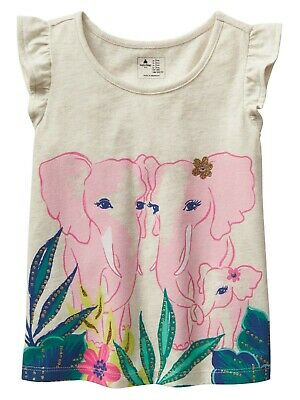 f47723986 New Gap Girls Toddler Pink Elephant Gold graphic Beige top T-shirt size 2yr  5yr