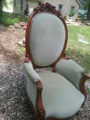 Victorian Hand Carved Green upholstered Chair 1900' s