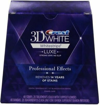 Crest3D Professional Effects Teeth Whitening Whitestrips 20 Pouches=40 Strips