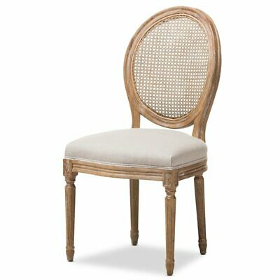 Baxton Studio Adelia Dining Side Chair in Weathered Oak and Beige