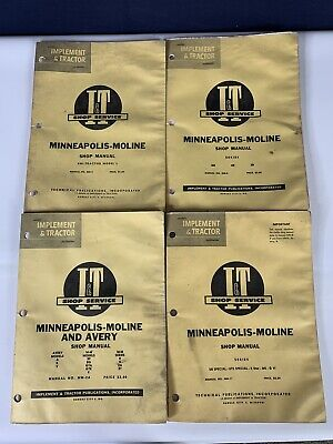 Lot of 4 OEM,  Minneapolis Moline Implement & Tractor Service Shop Manuals