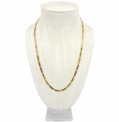 """3mm Italian Figaro Link Chain Necklace 8"""" 18"""" 20"""" 24"""" 30"""" inch 14K Gold Plated"""