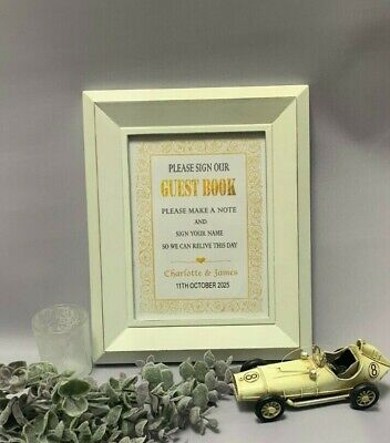 Personalised Wedding Guest Book Table Sign Gold Silver Party Baby Shower GB1a