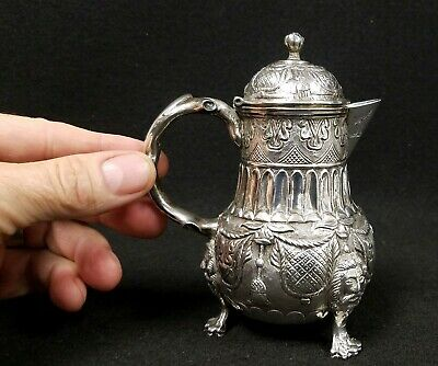 Antique Heraldic Sterling Silver Repousse' Pitcher Creamer Old Man of the Woods