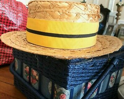 Vintage Straw Boater Hat with  Yellow Ribbon   - Henley Regatta.