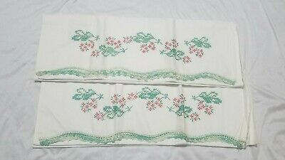 Vintage Cross stitch Embroidery Pillowcases 1 Pair Green Pink Flower Handwork