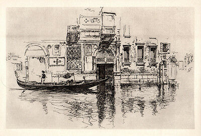 """Joseph PENNELL Antique 1800s Etching """"A Watergate in Venice"""" Signed FRAMED COA"""
