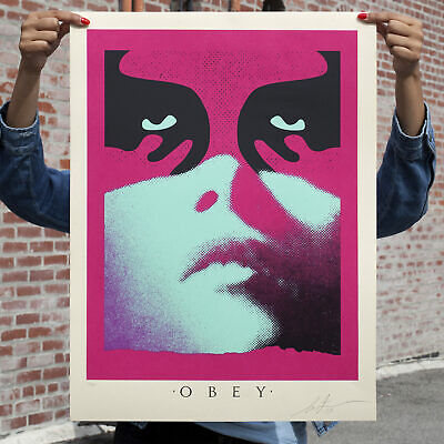 OBEY GIANT Shepard Fairey SHADOWPLAY (Blue) SCREEN PRINT signed and  #/350