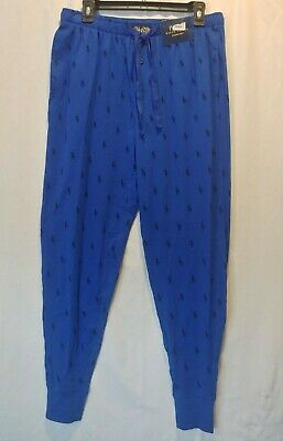Ralph Lauren Polo Mens Flannel Jogger Lounge Pajama Pant Pony Blue SZ-L New