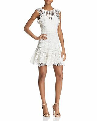 $538 Bcbgmaxazria Women's White Mixed Lace Sweetheart Fit & Flare Dress Size 4