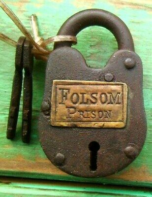 Old West Cast Iron Padlock Folsom Prison Lock W/2 KEYS WORKS