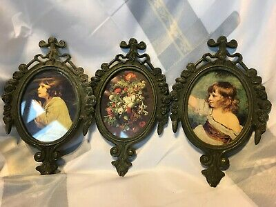 Vintage Ornate Small Picture Frames with Prints of Children Italy Made 3 9/798