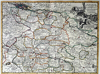 Germany Lunenburg 1735 Van Der Aa Covens & Mortier Colored Engraved Map