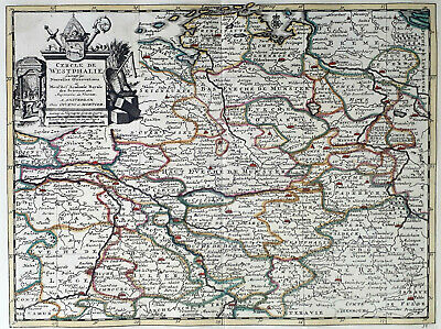 Germany Westphalia 1735 Van Der Aa Covens & Mortier Colored Engraved Map