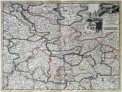Germany Rhenish Circles 1735 Van Der Aa Covens & Mortier Colored Engraved Map