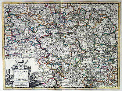 Germany Mainz 1735 Van Der Aa Covens & Mortier Colored Engraved Map