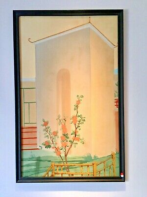 "ART DECO Antique CHINESE Palace Mural PAINTING HAND PAINTED Scroll #2 39"" X 61"""