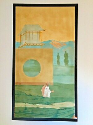 "ART DECO Antique CHINESE Palace Mural PAINTING HAND PAINTED Scroll #4 39"" X 69"""