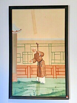 "ART DECO Antique CHINESE Palace Mural PAINTING HAND PAINTED Scroll #5 39"" X 61"""