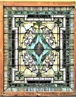 MAGNIFICENT ANTIQUE / VINTAGE STAINED GLASS WINDOW c.19th-20th See shipping info