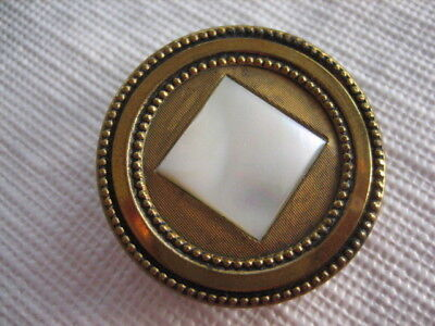 "Vintage Med 1-1/8th"" Square Mother Of Pearl MOP Shell Button Set In Brass - PB63"