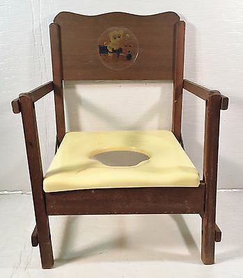 Vintage Folding Wood Potty Chair for Decoration Only
