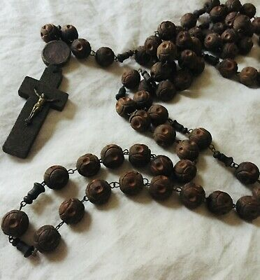 French antique vintage old carved wooden Rosary Beads Lourdes Monks Pilgrimmage