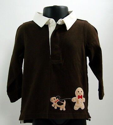 Gymboree Boys Gingerbread Boy Brown Long Sleeve Polo Shirt Top 6 12 months New