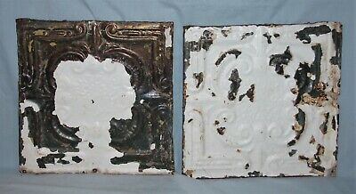Pair Vintage 12 x 12 Embossed Tin Ceiling Tiles Chippy Paint #5
