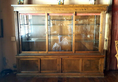 Large Vintage Hardware Store Type Glass & Wood Show Case Display Case