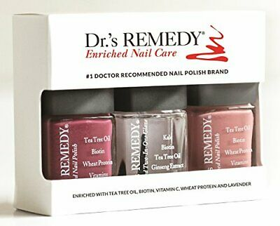 Dr Remedy Enriched Nail Care Treatment 3 Piece Set - Long Wearing & Non Fading