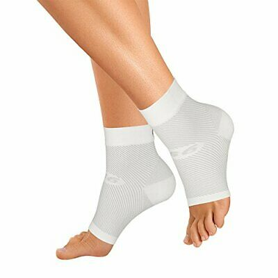 Compression Foot Sleeve Supports Plantar Fascia Heel & Achilles Tendon - White L