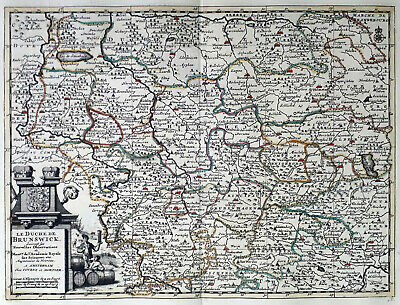 Germany Duchy Of Brunswick 1735 Van Der Aa Covens & Mortier Colored Engraved Map