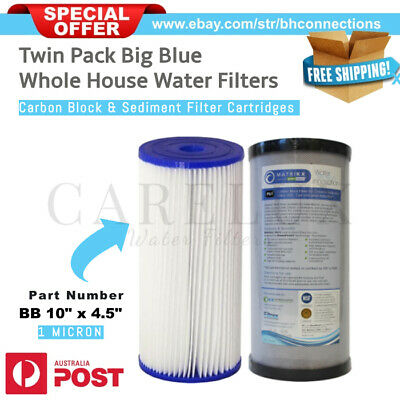 "Twin Pack 10"" x 4.5"" Big Blue Whole House Water Filter Replacement Pack 1 Micron"