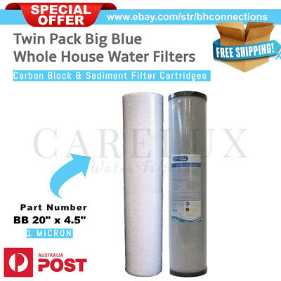 "Twin Pack 20"" x 4.5"" Big Blue Whole House Water Filter Replacement Pack 1 Micron"