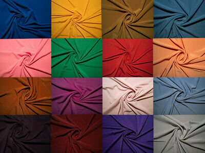 """ITY Fabric Polyester Lycra Spandex Stretch 29 Colors 58""""-60"""" Medium Weight BTY"""