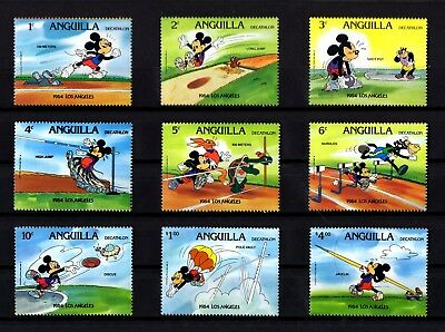 Anguilla - 1984 - Disney - Mickey - Olympics - Decathlon - 9 X Mint - Mnh Set!