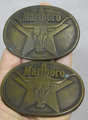 Vtg PAIR Marlboro Brass Belt Buckles Dated 1987 Longhorn Steer