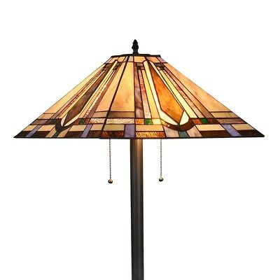 Tiffany Mission Reading Floor Lamp Vintage Handmade Stained Glass Shade